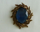 Vintage Brass Jewelry Brooch Pin Smokey Blue Black Stone Wreath Design 1950s Womens Gift or Collection