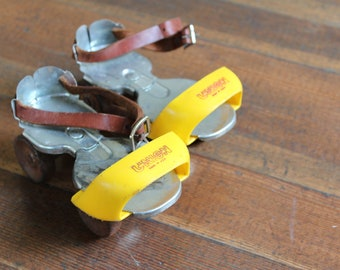 Vintage Children's Metal Roller Skates with Yellow Toe (Union Hardware)