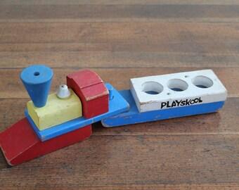 Vintage Playskool Wooden Train Toy