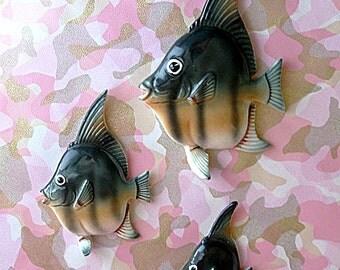 Sale HALF OFF Vintage 50's ANGELFISH Bathroom Wall Hanging Set Norcrest fish