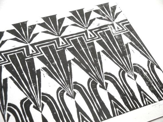 Black and White Art Deco Repeating Geometric Block Print