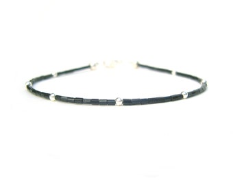 Stackable Bracelet, Simple Friendship Bracelet, Black Bead Bracelet, Contemporary Jewellery