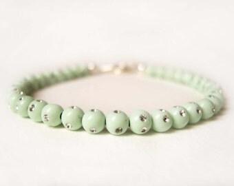 Mint Green Bracelet, Diamante Bracelet, Acrylic Bead Bracelet, Mint Bracelet UK