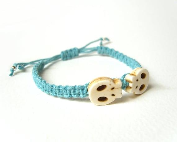 Blue Skull Bracelet, String Bracelet, Macrame Bracelet, UK Seller, Gifts For Teenagers