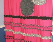 Shower Curtain  Custom Made Designer Fabric Ruffles and Flowers Hot Pink, Black, White Damask Stripes Dots