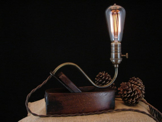 Upcycled Vintage Wood Plane Lamp with Filament Bulb 2
