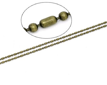 Ball Chain 1.5mm Antique Bronze 10M 32 Feet - Ships IMMEDIATELY  from California - CH79