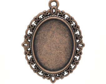 Copper Cameo Frames - Setting Pendants - 39x29mm (Holds 25x18mm) 3pcs  - Ships IMMEDIATELY from California - CC02