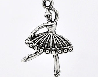 SALE 5 Ballerina Charms - Antique Silver - 35x20mm - Ships IMMEDIATELY from California - SC338