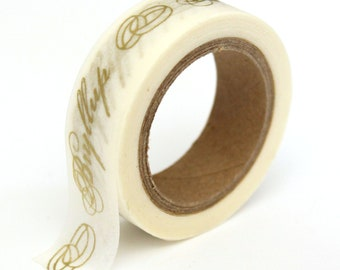 """SALE Washi Tape - Gold Foil """"Bryllup"""" - 15mmx10m - 1 Roll - Ships IMMEDIATELY from California - TP157"""