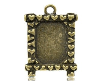 5 Bronze Frames with Hearts -  Holds 18x13mm - Cabochon Settings - 30x22mm - Ships IMMEDIATELY from California - BC426