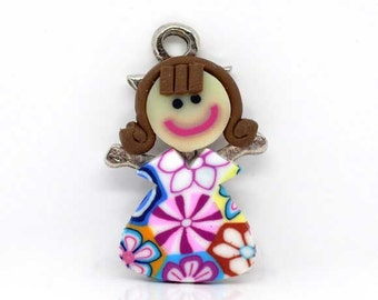 SALE 5 Girl Charms - Multicolor Polymer Clay - 27x18mm - Ships IMMEDIATELY from California - SC445