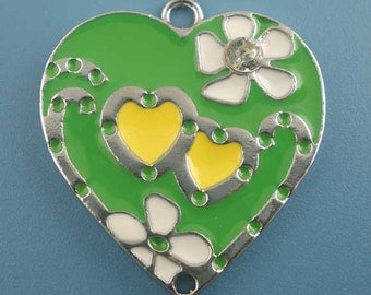 SALE 3 Heart Charms Silver Enamel 25x24mm - Ships IMMMEDIATELY  from California - E29