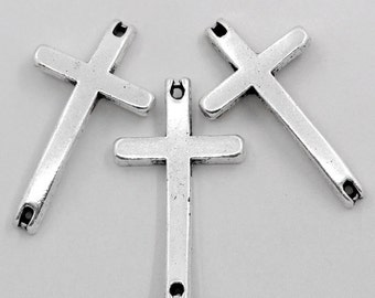 10 Cross Connectors - Antique Silver - 14x25mm - Ships IMMEDIATELY from California - SC683