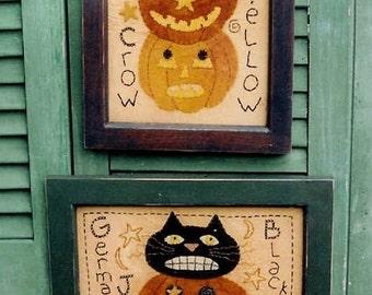 The Country Cubpoard Primitive Folk Art Halloween Wool Applique Stitchery Pattern