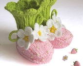 Knit Baby Booties Pink Strawberry Booties Hand Knit Baby Girls Shoes