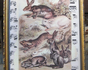 Rabbit Bunny Hare Vintage Rabbit Print Home Decor Cottage Chic Original Altered Art Collage Sheet Music Shabby White Home