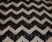 Midnight Lace - Chevron - Black/Gold Metallic