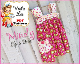 Mindy... Girl's Dress Pattern, Girl's Sewing Pattern. Girl's Top Pattern, Dress and Top Pattern  Toddler Dress Sewing Pattern. pdf Pattern