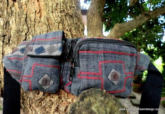 Unisex  Belt Bag or Hip Bag In Grey Vintage Hmong Cotton Embroidery Man Bag