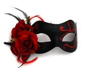 Black & Red Gothic Romantic Rose Venetian Mask