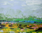 Abstract Landscape - acrylic painting on canvas - size 30cm x 23cm - FREE SHIPPING