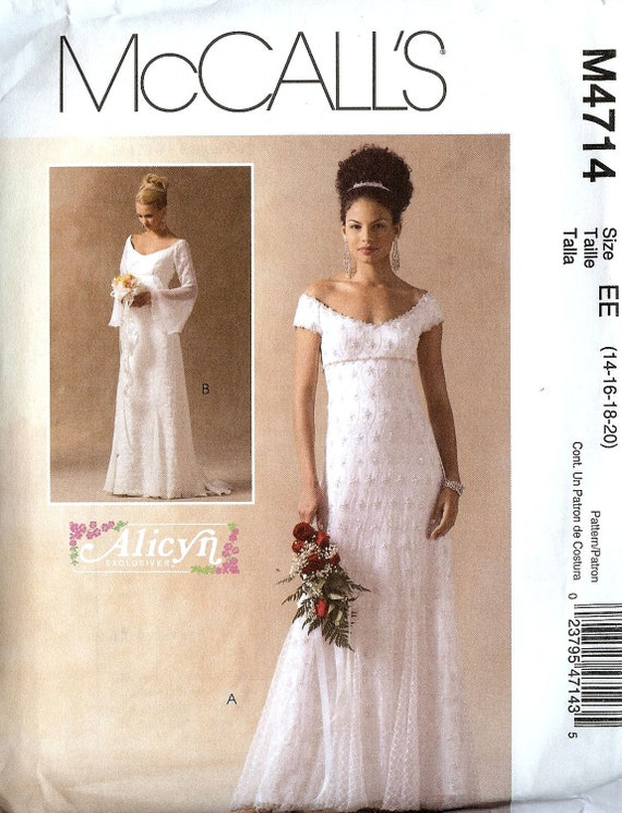 Wedding Dress Patterns Empire Line : Pattern mccalls wedding dress empire line on off shoulder
