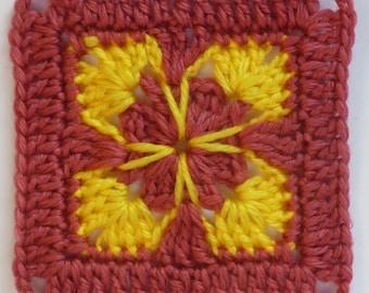 Instant Download Crochet PDF pattern - LD-0115 floral afghan block