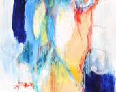 """Abstract Painting Expressionist Intuitive Art Paper Modern """"Thinking About the Other Side"""""""
