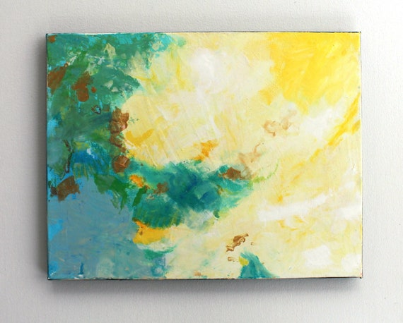 "Abstract Painting on Canvas Expressionist Modern Art ""Dreams in Green and Gold"""
