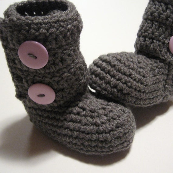 Crochet baby booties.  Size 6 to 12 months.  Ready to ship.  Pewter.  Pastel purple buttons.