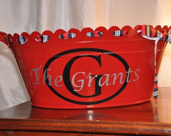Personalized Beverage Tub/ Drink Tub/ Party Tub/ Family Name/ Red/ Black