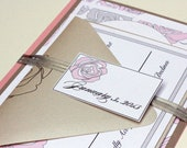 Silver and Pink Vintage Rose Wedding Invitation Suite by Lemon Square Designs