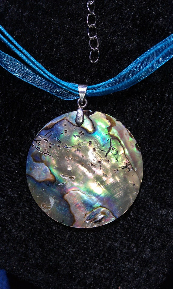 Abalone Necklace, Large Abalone Pendant Suspended on a Beautiful Three Strand Necklace, FREE Shipping