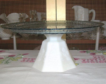 Pedestal Cake Plate,Up-cycled Blue Glass Plate and Vintage Milk Glass Candy Dish