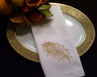 Set of 6 Cloth Cotton Embroidered Dinner Napkins-  Gold PEACOCK Feather