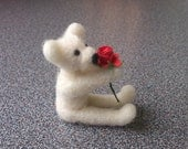 Needle felted  white miniature teddy bear with red rose