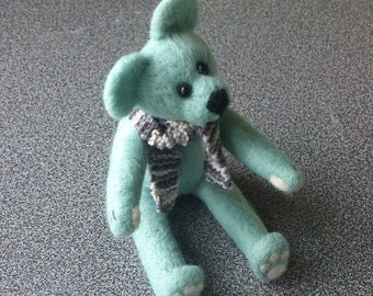 Needle felted merino mint blue teddy bear with handknitted scarf gifts under 50 eco friendly
