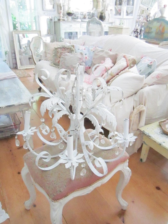 On SaleVintage white chandelier crystals shabby chic prairie cottage chic