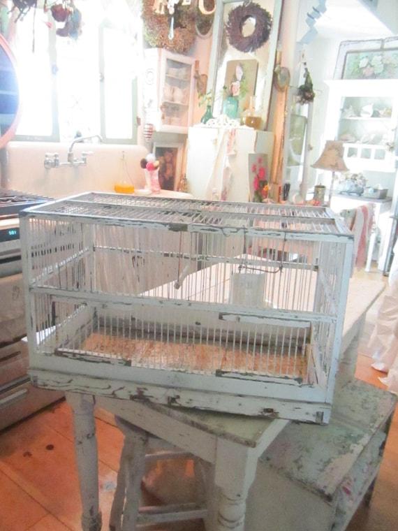 Chippy white shabby  Vintage chippy white wood  birdcage shabby chic prairie cottage chic