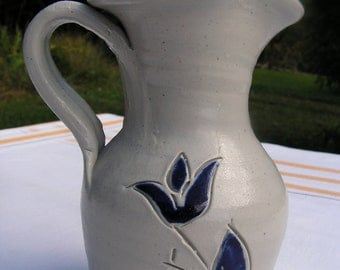 70s Clay Grey with Cut Cobalt Blue Floral Design by Williamsburg Potter Co