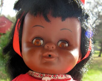 1971 Vintage Lorr Black Baby Doll Drink and Wet Soft Vinyl