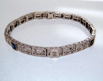 REDUCED!! 14k Diamond Sapphire Art Deco Art Nouveau Filigree Bracelet