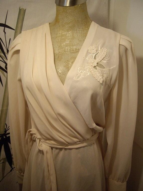 Vtge 60s plunging neck wrap  ivory, cream, french chic,  delicate sheer chiffon dress Edwardian sz 7/8