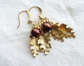 Small Acorn with Golden Oak Leaves Earrings. Fall Fashion. Jewelry Under 25