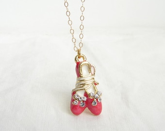 Little Ballerina. Red Ballet Shoes Pendant 14K GF Chain. Gift for Her. Simple Modern jewelry