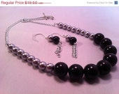 BLACK FRIDAY SALE Necklace Silver Pearl Black Earrings