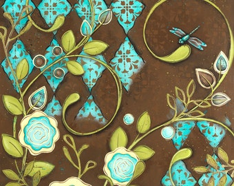 Teal And Brown Wall Decor dragonfly wall art   etsy