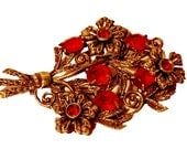 50s Red Rhinestone Victorian Revival Bouquet Brooch