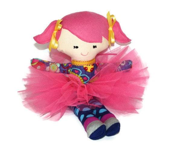 "SALE   Cutie Patootie Purple Pink  & Yellow Tutu Doll 14"" tall Cloth doll Ballerina"